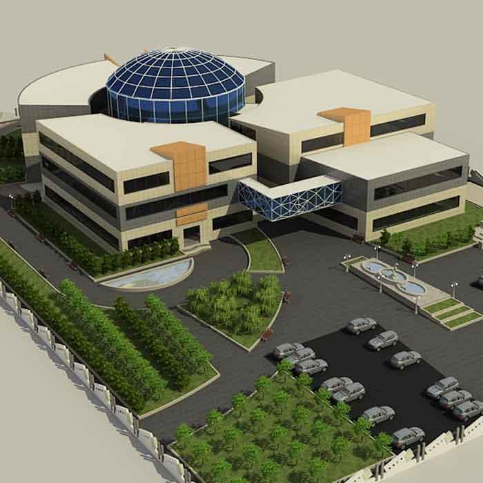 پروژه دانشجویی بیمارستان با گنبد شیشه ای